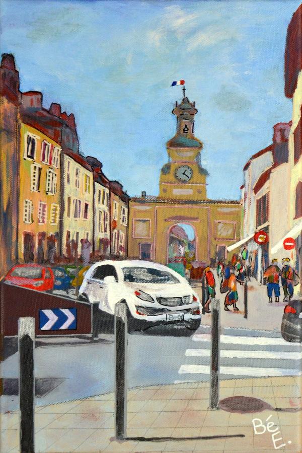 Rue de la République avec Porte Saint-Pierre à Pontarlier ( Doubs)
